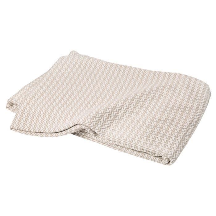 Dessus de lit Ramatuelle coton peigné motifs zigzag beige Lin 180x250 - Toison d'Or