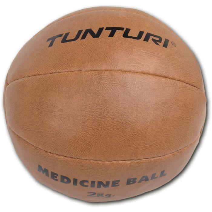 TUNTURI Balle de médecine / Ballon médicinal / Medicine ball en cuir synthétique 2kg marron