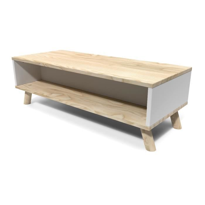 Table basse scandinave rectangulaire viking bois naturel for Table rectangulaire scandinave