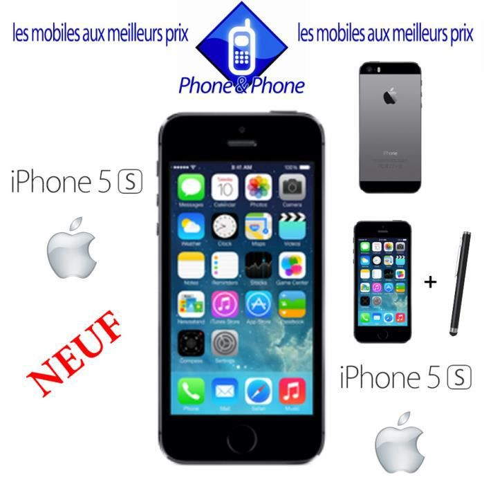 apple iphone 5s noir 16g neuf debloque stylet. Black Bedroom Furniture Sets. Home Design Ideas