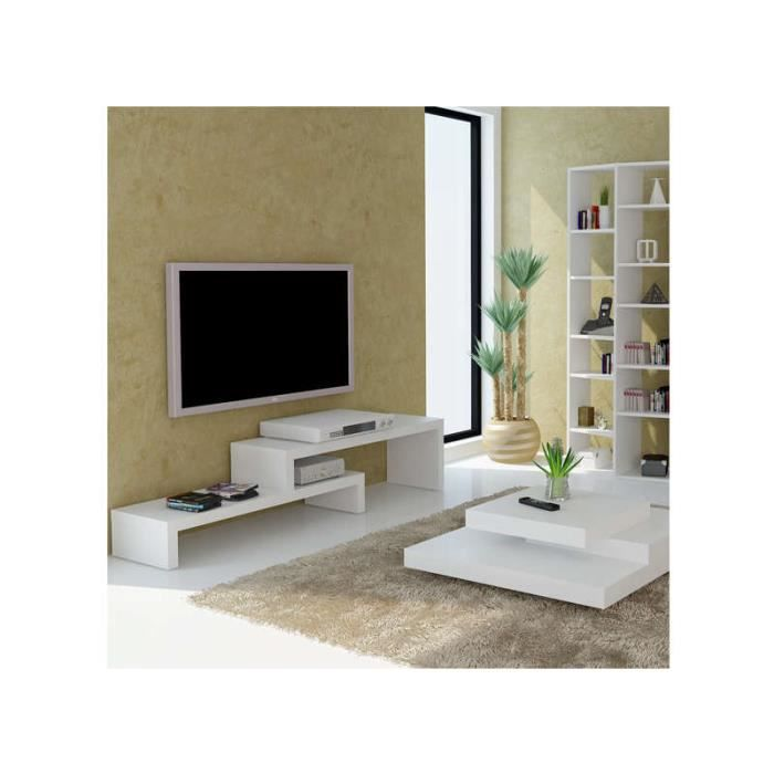 Meuble tv design en gigogne skien blanc 125 cm achat for Achatdesign meuble tv