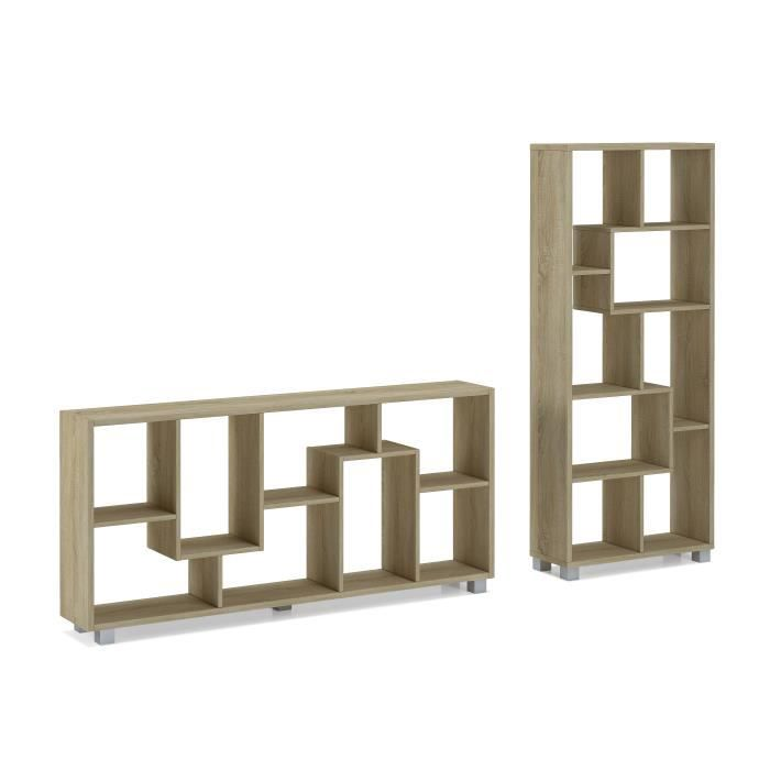 tag re biblioth que design salon salle manger ch ne clair dimensions 68 5 x 161 x 25 cm. Black Bedroom Furniture Sets. Home Design Ideas