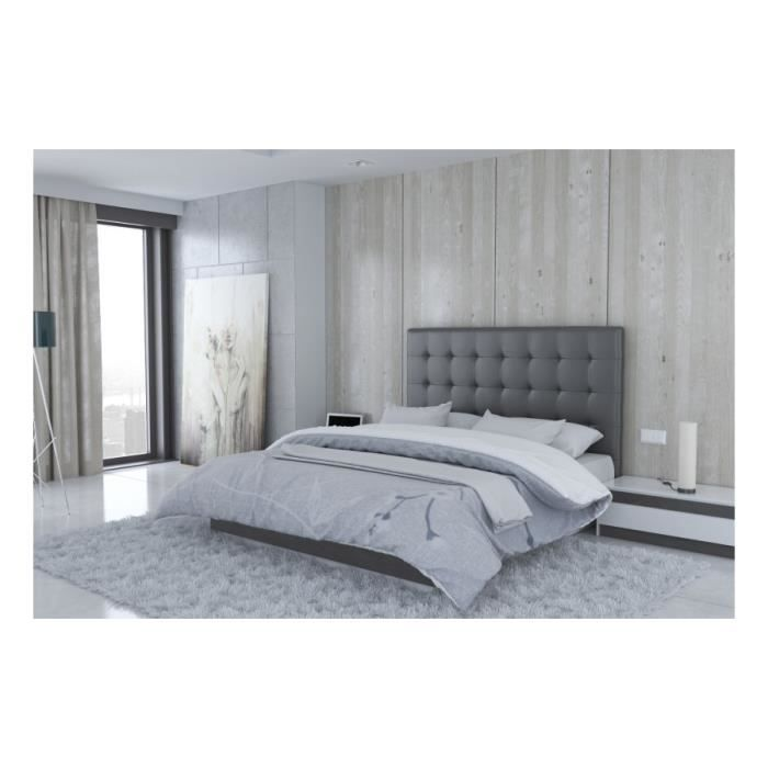 t te de lit en pu gris milan taille 140 cm achat vente t te de lit t te de lit en pu. Black Bedroom Furniture Sets. Home Design Ideas
