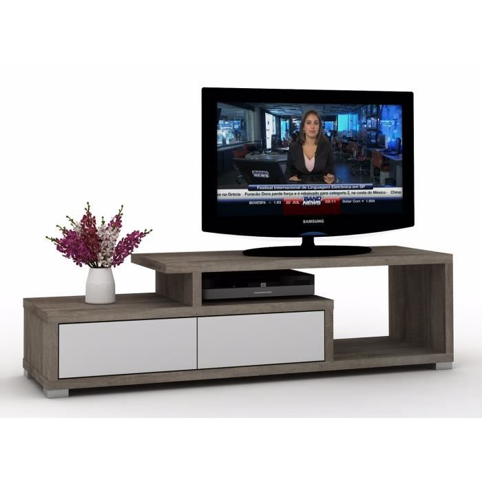 meuble tv design luego blanc et ch ne fonc achat. Black Bedroom Furniture Sets. Home Design Ideas