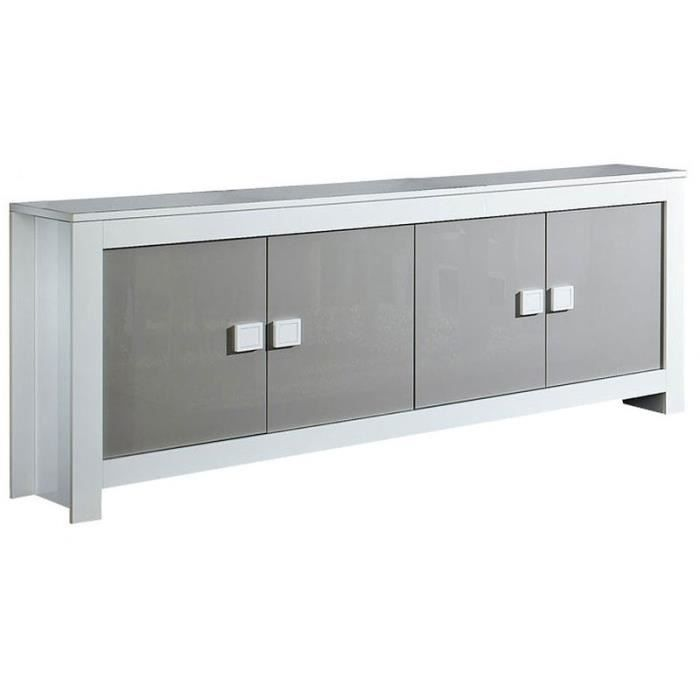 bahut 4 portes pisa blanc gris achat vente buffet bahut bahut 4 portes pisa blanc g. Black Bedroom Furniture Sets. Home Design Ideas