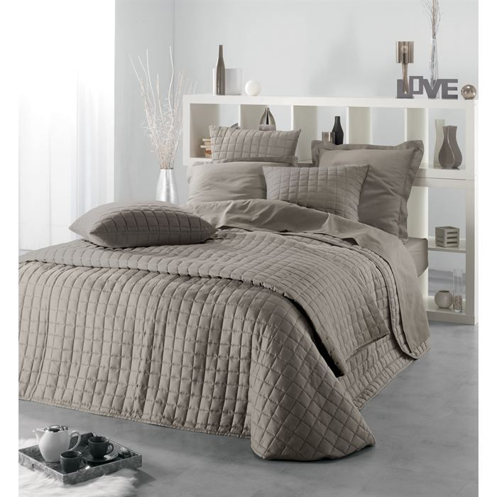 couvre lit venus taupe 220x240 2 housses coussin achat. Black Bedroom Furniture Sets. Home Design Ideas