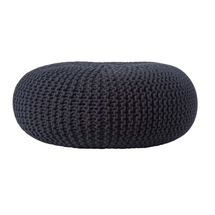 pouf en tricot rond noir tr s grand achat vente pouf poire cdiscount. Black Bedroom Furniture Sets. Home Design Ideas