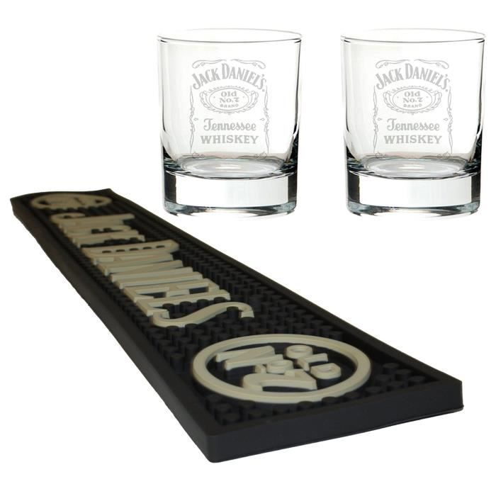 Jack daniels tapis de bi re bar runner avec 2 verres de for Meuble jack daniels