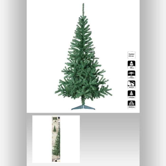 sapin de noel artificiel seasons vert 210 cm achat vente sapin arbre de no l carton pvc. Black Bedroom Furniture Sets. Home Design Ideas
