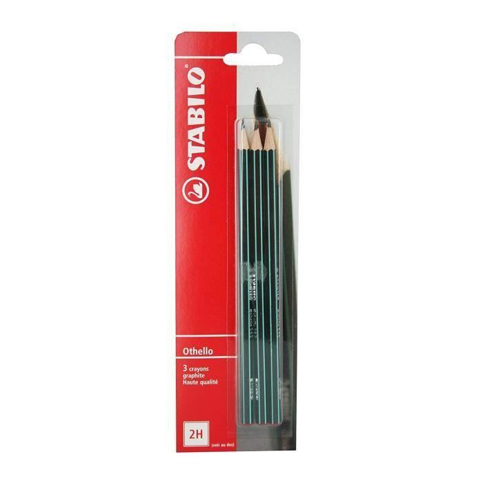 CRAYON GRAPHITE STABILO - lot de 3 crayons graphite Othello 2H -