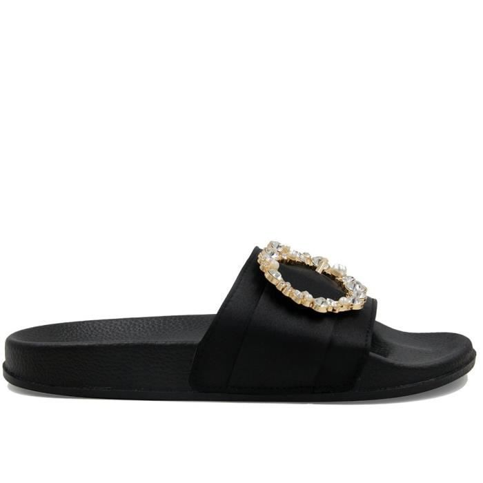 Sandals Slippers, Fashion Flip Flop Fur Slide Slip On Flats Shoes DN7DR Taille-36
