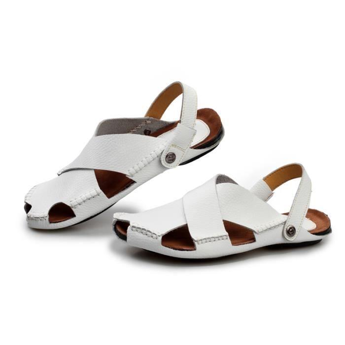 Été nouveaux Mâle Chaussures Mode Casual Hommes Sandales Respirant Chaussures De Plage Légères SHT-shangbu306326Blanc39-38