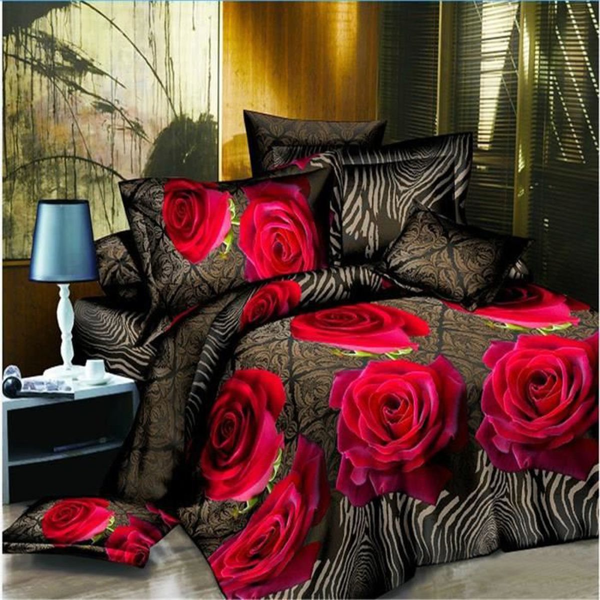 parure de couette parure de lit sexy red rose motif 1 housse de couette 220x240cm 2 taie d. Black Bedroom Furniture Sets. Home Design Ideas