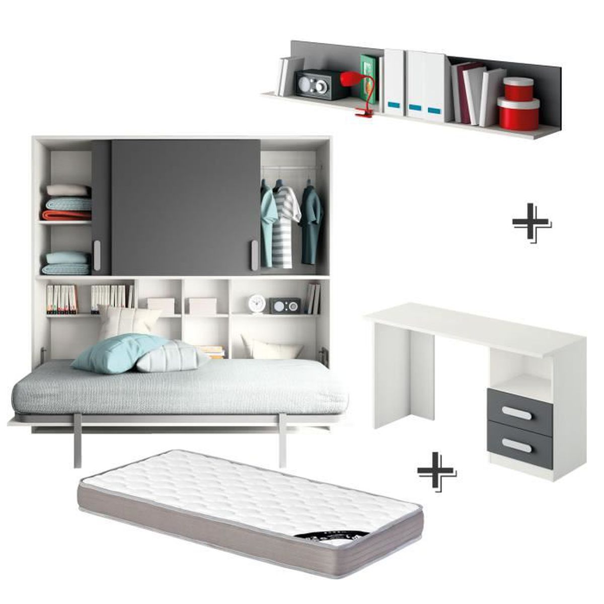 chambre complete lit abttant 90x190 blanc anthracite achat vente lit escamotable chambre. Black Bedroom Furniture Sets. Home Design Ideas