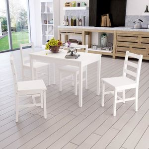 TABLE DE CUISINE   Table en Bois + 4 Chaises Ensemble Anaelle Panana