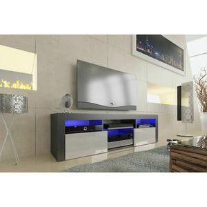 MEUBLE TV Meuble tv 160 cm noir  mat façade blanc  laquée av
