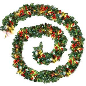 OBJET DÉCORATIF HT Guirlande de Noël Unie Verte de 9Pied-270Cm Ave
