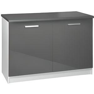 ELEMENTS BAS Meuble cuisine bas 120 cm 2 portes TARA gris