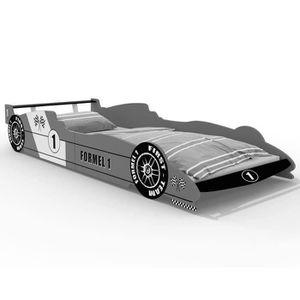 STRUCTURE DE LIT Lit enfant Voiture Formule 1 Gris - 90 cm x 200 cm