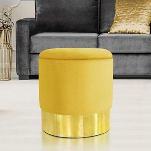 POUF - POIRE Pouf en velours jaune et doré