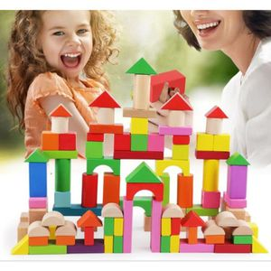 ASSEMBLAGE CONSTRUCTION 100 Blocs Jeux de Construction en Bois Puzzle Form