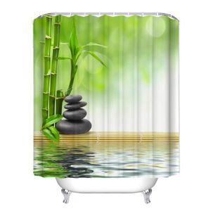 RIDEAU DE DOUCHE Rideau de douche ZEN bambous galets et leurs refle