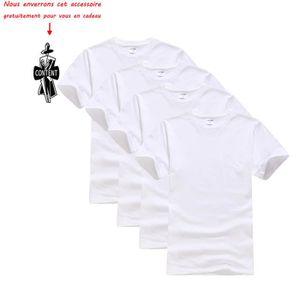 T-SHIRT Lot de 4 T shirt Homme uni Tee shirt Hommes Col ro