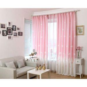 Rideaux chambre rose et blanc