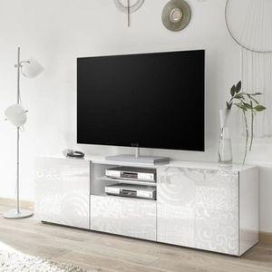 MEUBLE TV Meuble TV 2 portes 1 tiroir Laqué Blanc brillant -