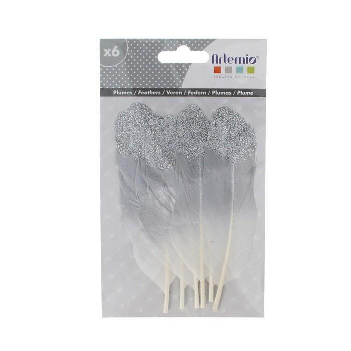 Artemio - 6 plumes argentées à paillettes