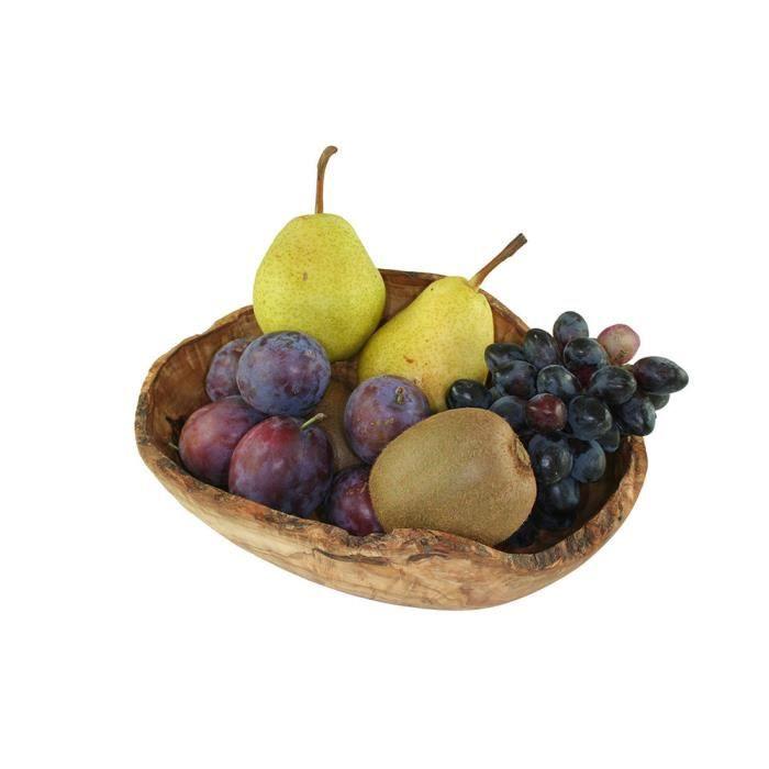 Panier corbeille à fruits, à légumes, à pain, en bois d'olivier 27 cm - CORBEILLE - PANIERE