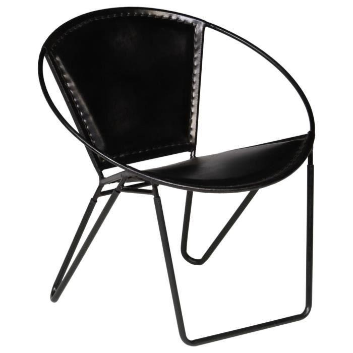 ⛲9147Contemporain Fauteuil Chaise Scandinave - Fauteuil Club Fauteuil de relaxation Design Confort & Chic - Fauteuil Salon Noir Cuir