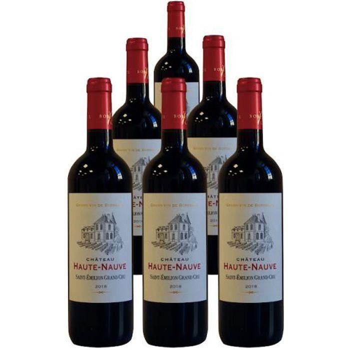 Château Haute-Nauve Saint Emilion Grand Cru 2018 - Pack de 6 bouteilles - Vin rouge de Saint Emilion