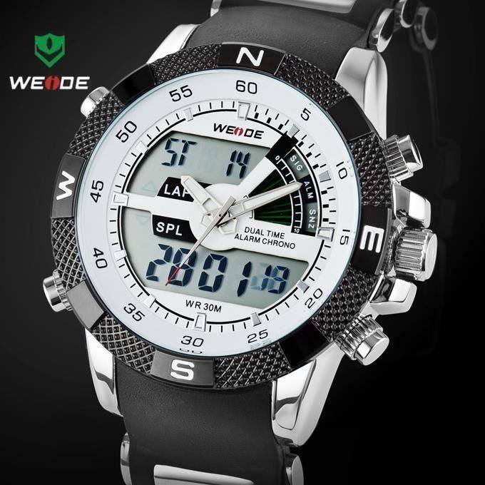 Vente chaude WEIDE marque de luxe homme et montres de sport 3ATM imperméable multifonction Quartz numérique rétro - éclairage R335