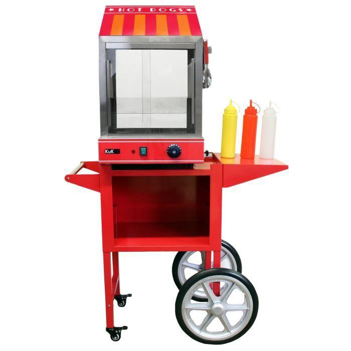 KuKoo Cuiseur Vapeur pour Hot Dog avec Chariot Assorti, Machine Commerciale pour Hot Dog à Portes en Verre et Réchauffe Pain