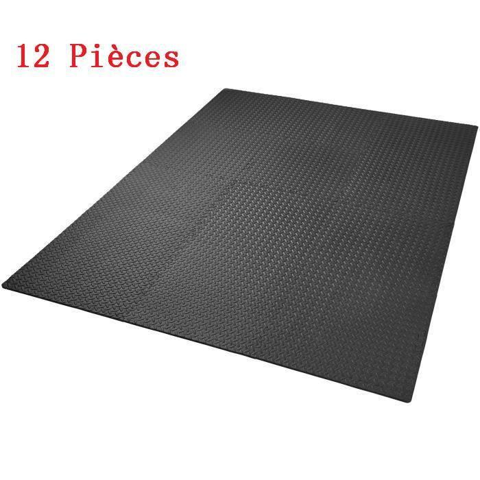 JEOBEST® Ensemble de 12 Dalles Tapis de Protection de Sol, Tapis Puzzle Antidérapant Mousse Noir 60 X 60 cm