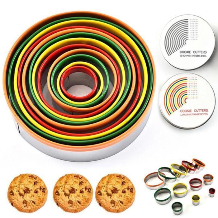 Lot de 12 emporte pièce rond cercle Biscuits emporte pièce avec boîte de rangement pour pâte pâtisserie beignet Fondant GF3336