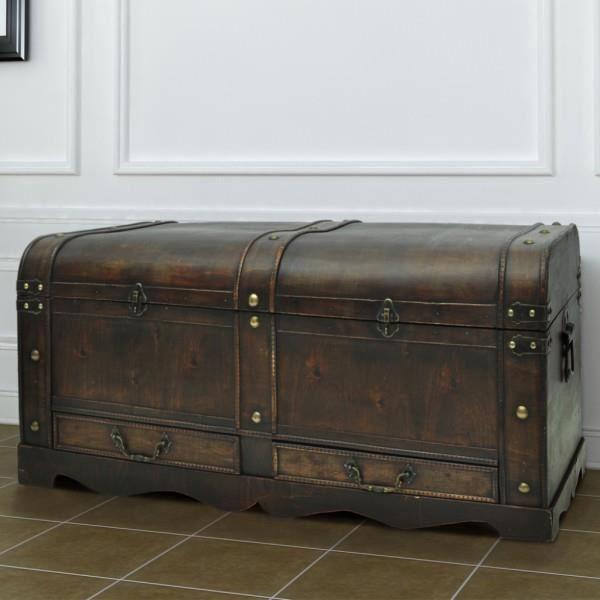 Coffre au trésor Table basse en contreplaqué brun