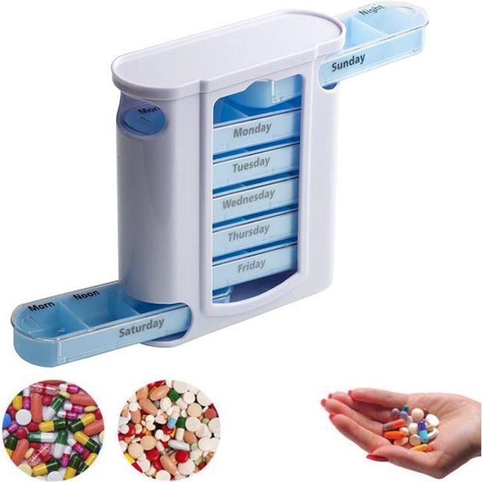Pilulier Semainier Boîte Pilule Médicament Hebdomadaire 7 Jours Pill, récipient en plastique pour compartiment à médicaments