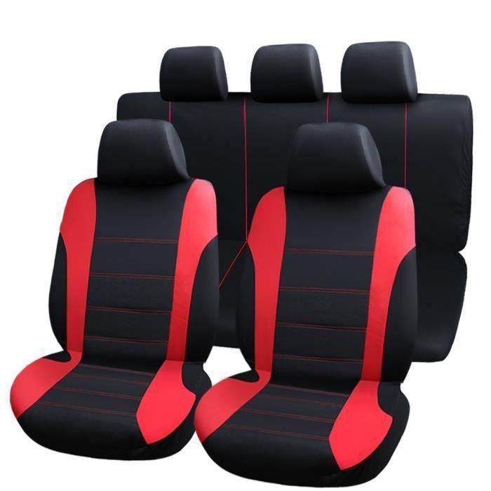 Housse de siège auto universelle 9Pcs Housses de Siège Pour Conducteur et Passager Rouge