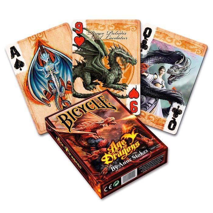 Jeu de cartes Bicycle Age des dragons par Anne stokes