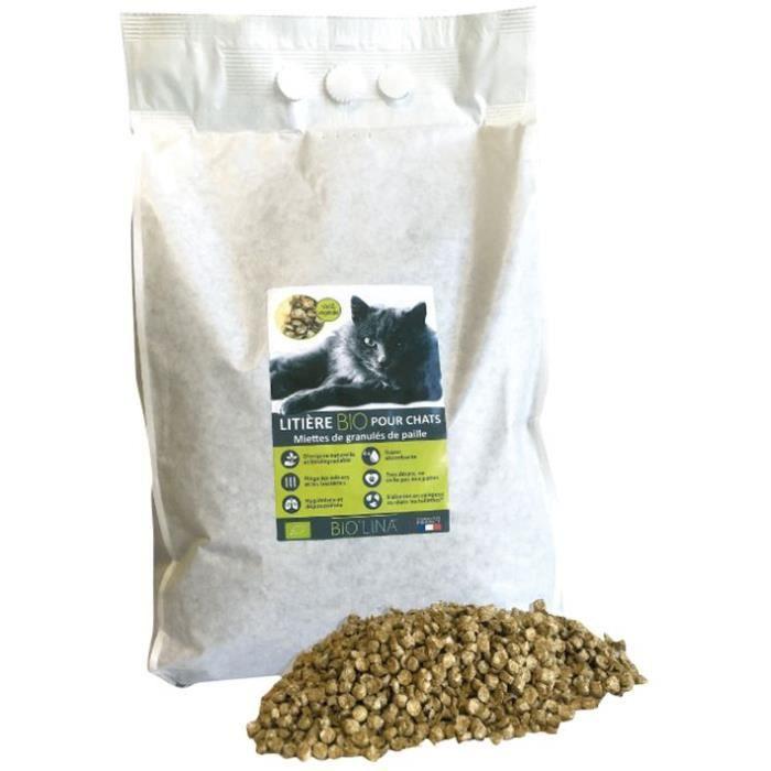 BIOLINA Litière Bio miettes de paille - 7,5 L - Pour chat