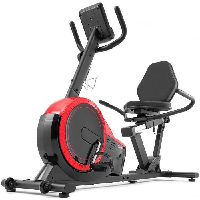 Vélo d'appartement Semi-allongé HS-060L Pulse (Rouge)- Dossier - Ordinateur - Roue d'inertie de 15 kg - Résistance magnétique