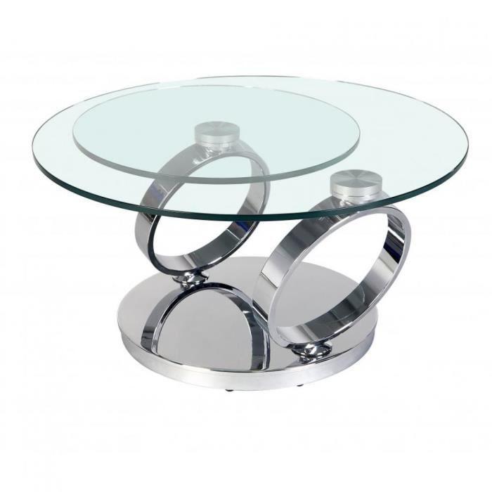 Table OLYMPE Ã plateaux pivotants en verre et piètement CHROME transparent Verre Inside75