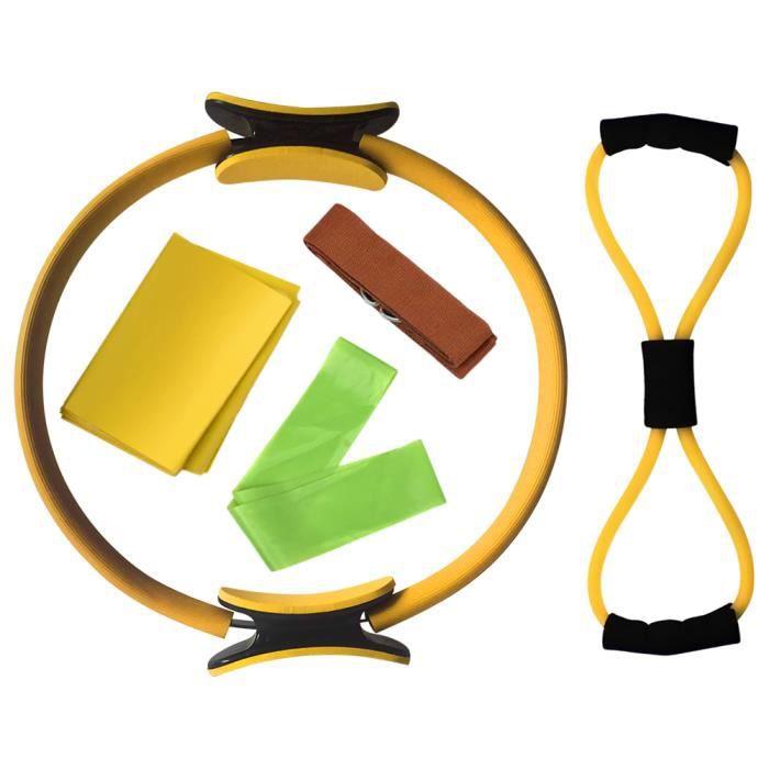 5pcs Ensemble de Anneau pour Pilates Yoga Coton Sangle Résistance Boucle Bande Figure 8 Bande De Résistance Exercice Stretchin B