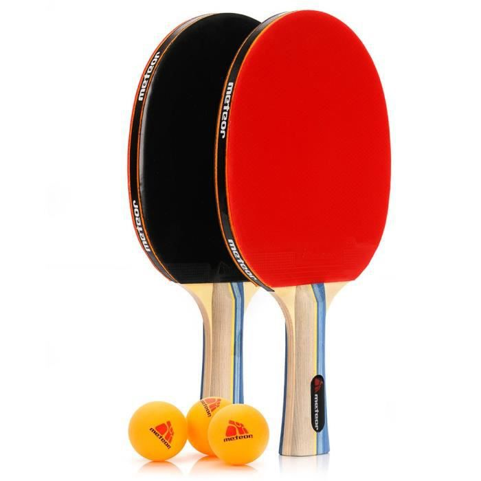 Ensemble de raquettes de Ping Pong - meteor Sirocco - Professionnel 2 Raquettes de Tennis de Table + 3 Balles de Ping-Pong