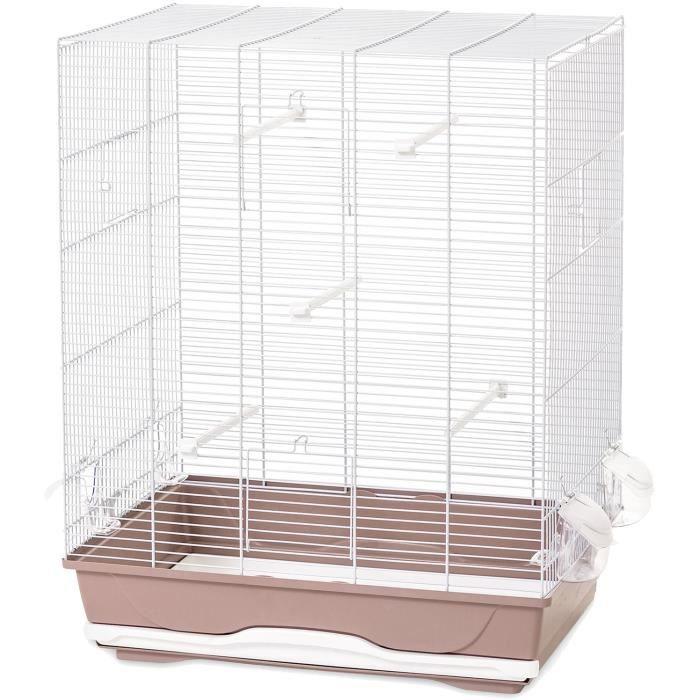 VADIGRAN Cage Ambra - 56,5x36,5x74 cm - Blanc et vieux rose - Pour oiseau