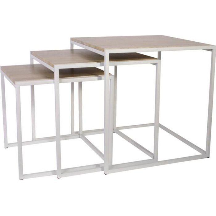 Lot de 3 tables gigognes carrées en MDF coloris marron et blanc