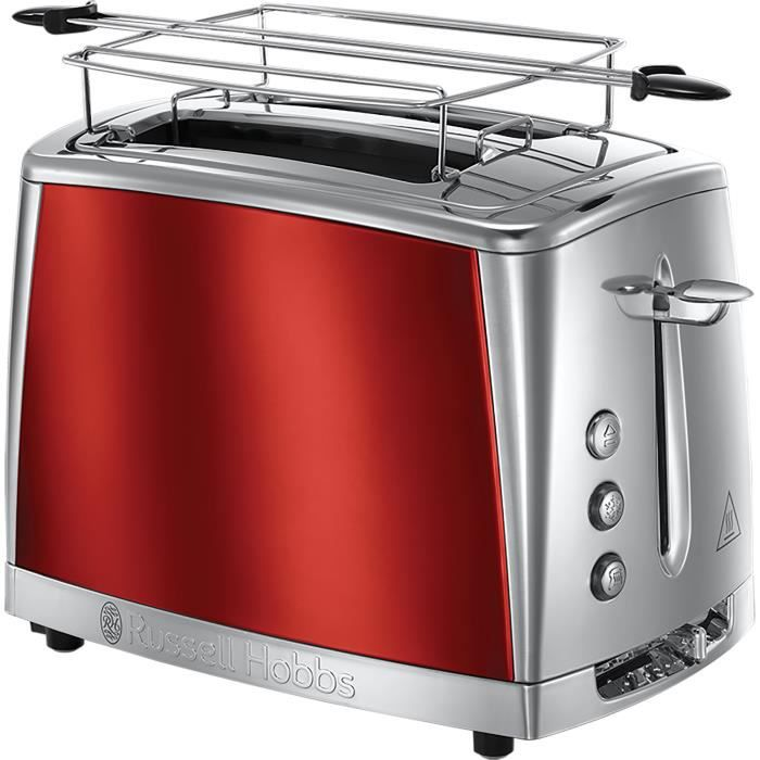 Russell Hobbs 23220-56 Grille-Pain, Toaster Luna, Cuisson Rapide, Contrôle Brunissage, Réchauffe Viennoiserie Inclus - Rouge