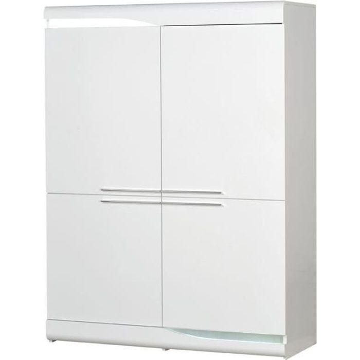 Vaisselier 4 portes Blanc laqué brillant à LEDs - PESMES - L 120 x l 46 x H 160